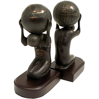 Bey-Berk Atlas With Globe Bookends, Brass and Wood Base, Bronzed