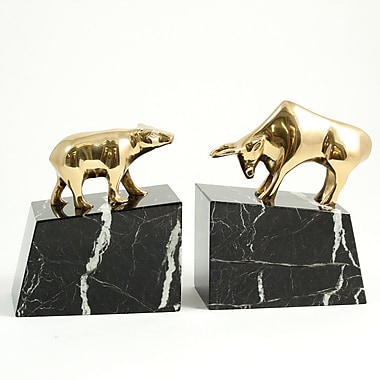 Bey-Berk Wall Street Solid Bookends, Brass and Marble Base, Lacquer Finished