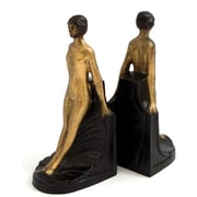 Bey-Berk Deco Lady  Bookends, Solid Brass and Wood Base, Bronzed