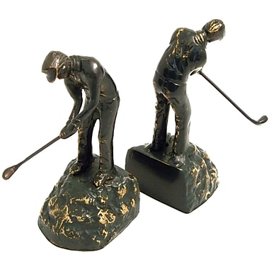Bey-Berk Man Golfer Bookends, Brass, Patina Finished