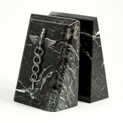 Bey-Berk Fancy Beveled  Medical Caduceus Bookends, Black Zebra Marble, Silver and Mirror Finish