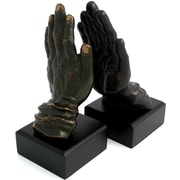 Bey-Berk Hands Bookends,  Solid Brass and Wood, Bronzed