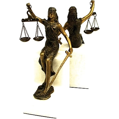 Bey-Berk Seated Lady  Justice, Bronzed Bookends, White Marble Base