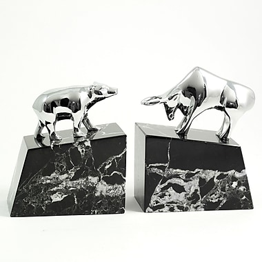 Bey-Berk Bull and Bear Bookends, Solid Brass Chrome Plated, Marble Base
