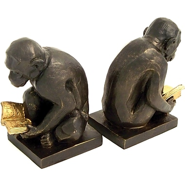 Bey-Berk Monkey Bookends, Brass, Bronzed