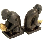 Bey-Berk Monkey Bookends,  Brass, Bronzed