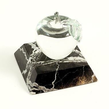 Black Zebra Marble & Glass Apple Paperweight