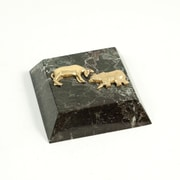 Bey-Berk Green Marble  Gold Plated Paperweight, Stock Market