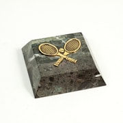 Bey-Berk Green Marble  Gold Plated Paperweight, Tennis