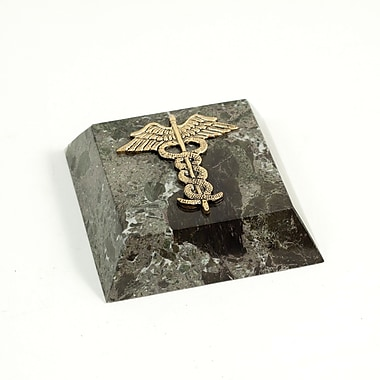 Bey-Berk Green Marble  Gold Plated Paperweight, Medical