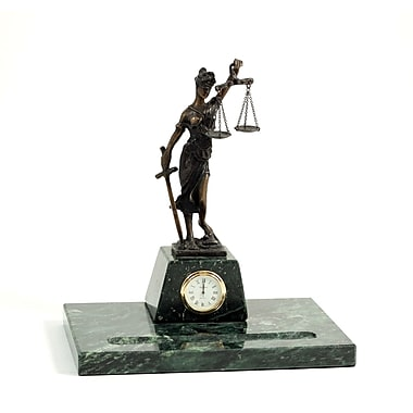 Bey-Berk Legal Pen  Holder With Bronze Clock
