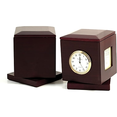 Bey-Berk Swivel Frame Box With Clock and Personalization Plate