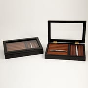 Bey-Berk 13 Slots  and Storage on Side Bottom Pen Box, Black and Burgundy