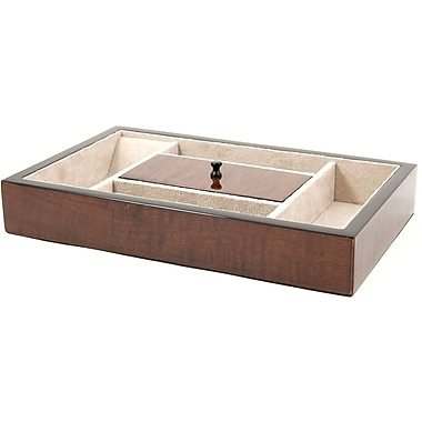 Bey-Berk Open Valet  Box, Elm Burl Wood