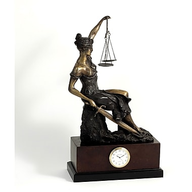Bey-Berk Bronze Seated  Lady Justice Clock