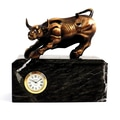 Bey-Berk Antique Brass  and Green Marble Bull Clock