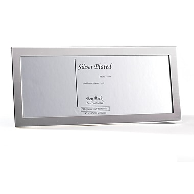Bey-Berk Silver Plated  Picture Frame, 4in. x 10in.