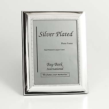 Bey-Berk SF102-12 Silver Plated Picture Frame, 8in. x 10in.