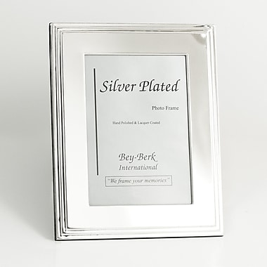 Bey-Berk SF107-12 Silver Plated Picture Frame, 8in. x 10in.