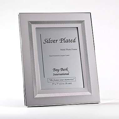 Bey-Berk SF197-11 Silver Plated Picture Frame, 5in. x 7in.