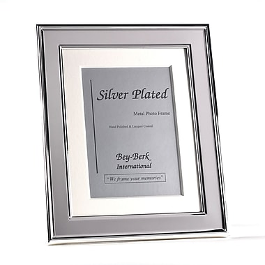 Bey-Berk Silver Plated  With Matting Picture Frame, 5in. x 7in.