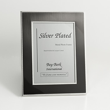 Bey-Berk Silver Tone  and Gun Metal Picture Frame, 4in. x 6in.
