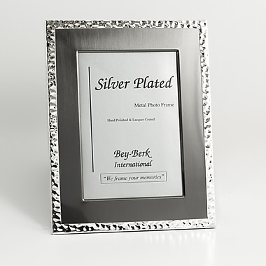 Bey-Berk SF200-12 Silver Tone and Gun Metal Picture Frame, 8