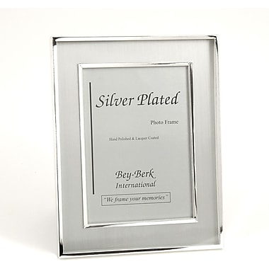 Bey-Berk Silver Plated  Brushed Picture Frame, 5in. x 7in.