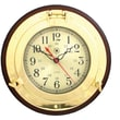 Bey-Berk Brass/Solid Wood  Porthole Clock