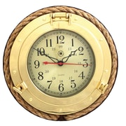 Bey-Berk SQ501 Brass/Wood Analog Porthole Wall Clock, Gold