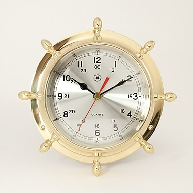 Bey-Berk Brass Ship's  Wheel Clock