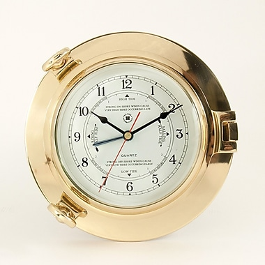 Bey-Berk Brass Porthole  Tide and Time Clock