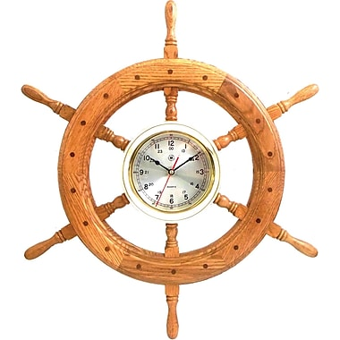 Bey-Berk 24 Brass/Oak  Ship's Wheel Clock