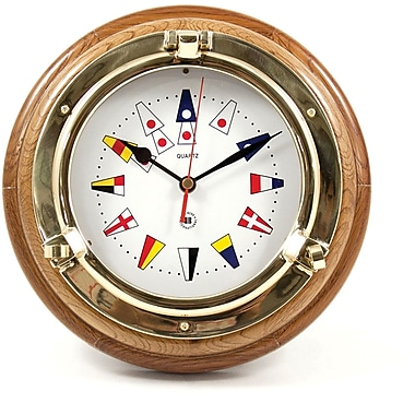 Bey-Berk Brass/Oak Porthole  Clock With Nautical Numbers