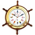 Bey-Berk Brass/Oak Ship's  Wheel Porthole Clock With Nautical Numbers
