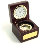 Bey-Berk Wood Box  Navigator Clock With Compass