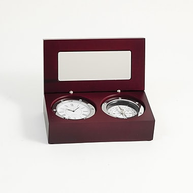Bey-Berk Wood Box  Clock/Compass