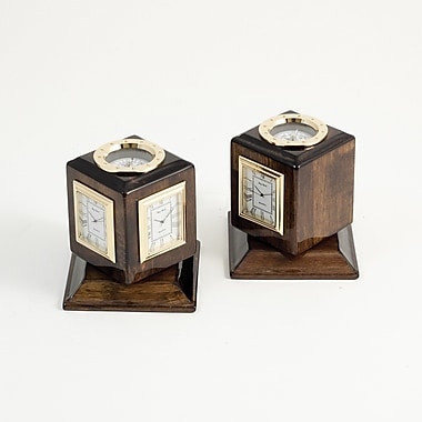 Bey-Berk Three Time  Zone Revolving Desk Clock With Compass and Engraving Plates