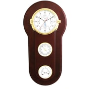 Bey-Berk Brass and  Mahogany Wood Tide and Time Clock With Barometer and Thermometer