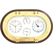 Bey-Berk Brass and  Mahogany Wood Porthole Clock/Tide Clock/Thermometer/Hygrometer