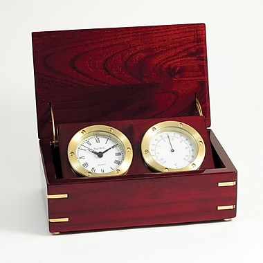 Bey-Berk Rosewood Box  Clock and Thermometer