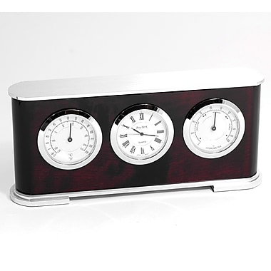 Bey-Berk Rosewood and Metal Weather Station With Clock