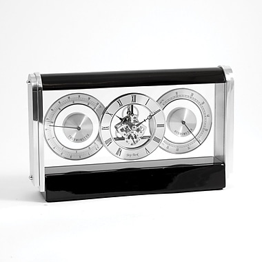Bey-Berk Stainless and  Lacquered Black Wood Skelton Movement Clock With Hygro and Thermo