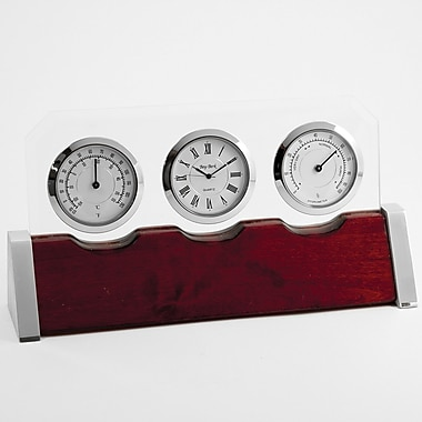 Bey-Berk Clock/Thermometer/Hygrometer With Personalization Plate, Rosewood Base
