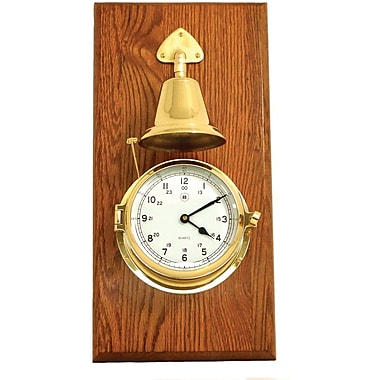 Bey-Berk Brass/Oak Striking  Clock With Bell
