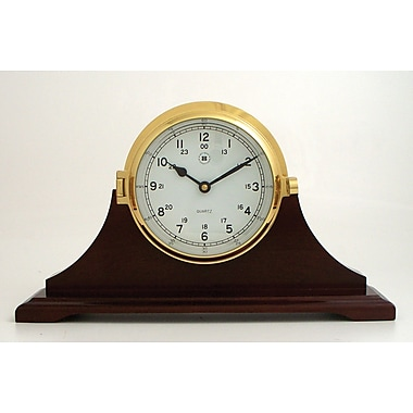Bey-Berk Brass/Mahogany Wood  Base Bell Striking Table Clock