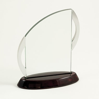 Bey-Berk Glass Award  With Rosewood Base, 7 3/4in.