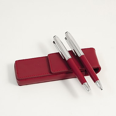 Bey-Berk Leather Pen  Pouch With Roller Ball and Ball Point Pens, Red