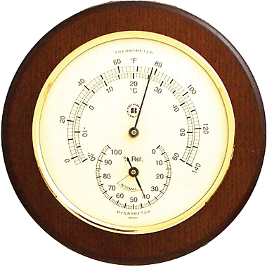 Bey-Berk Brass and Cherry Wood Thermometer/Hygrometer
