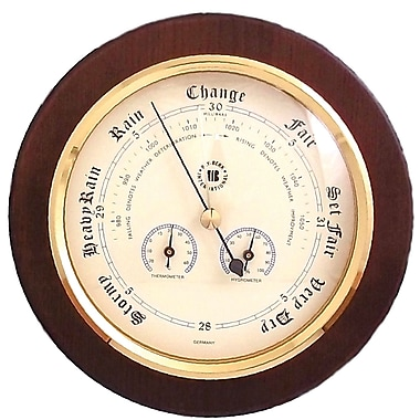 Bey-Berk Brass and Cherry Wood Barometer/Thermometer/Hygrometer